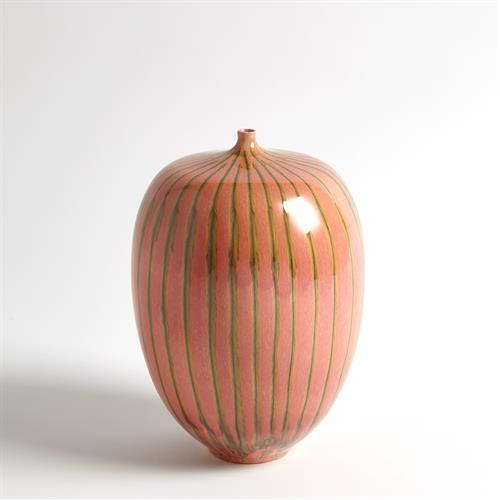 Striped Melon Vase-Lg