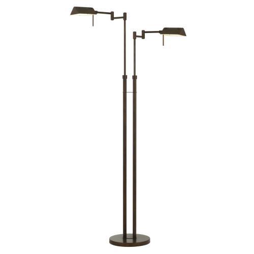 Clemson Metal LED 2 Light X 10W, 1560 Lumen, 3K, Pharmacy Swing Arm Adjustable Floor Lamp With Dimmer Switch