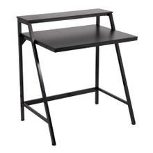 See Details - 2-tier Office Desk - Black Steel, Black Mdf