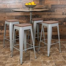 "30"" High Metal Indoor Bar Stool with Wood Seat in Silver - Stackable Set of 4"