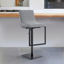 Victory Contemporary Swivel Barstool in Matte Black Finish and Grey Faux Leather