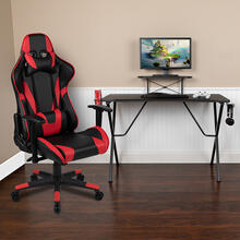 Black Gaming Desk and Red\/Black Reclining Gaming Chair Set with Cup Holder, Headphone Hook, and Monitor\/Smartphone Stand