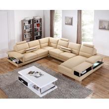 Divani Casa T717 Modern Beige Leather Sectional Sofa