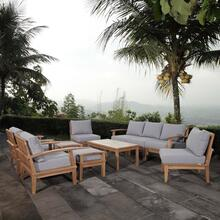 Marina 10 Piece Outdoor Patio Teak Set in Natural Gray