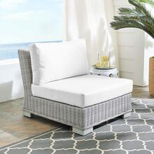 Conway Sunbrella® Outdoor Patio Wicker Rattan Armless Chair in Light Gray White