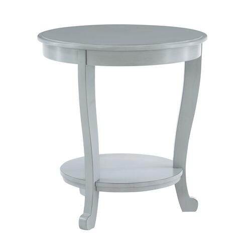 1-shelf and Round Top Accent Side Table, Light Grey