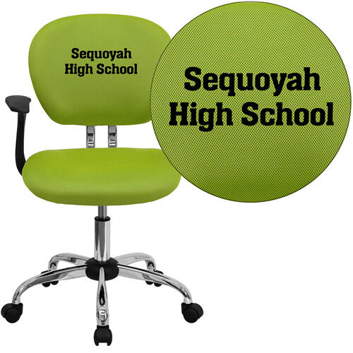 Embroidered Mid-Back Apple Green Mesh Swivel Task Chair with Chrome Base and Arms
