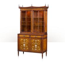 See Details - A laurel burl and mother of pearl inlaid library bookcase - Laurel Burl & Mother Of Pearl