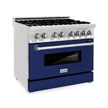 "ZLINE 36"" Professional Dual Fuel Range in Stainless Steel with Color Door Options (RA36) [Color: Blue Gloss]"