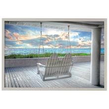 Swing at the Beach  Made in USA  Artist Print  Faux Wood Frame Under Glass  Attached Hanging Har