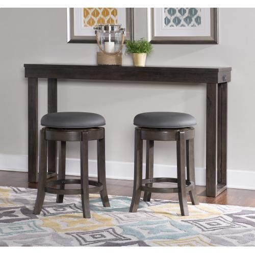 Upholstered Faux Leather and 360-degree Swivel Counter Stool, Grey