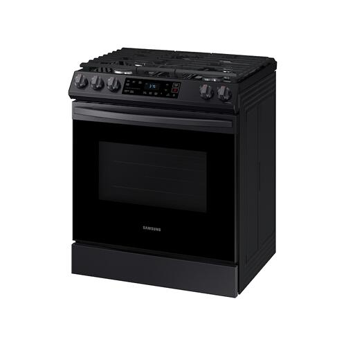 6.0 cu. ft. Front Control Slide-in Gas Range with Wi-Fi in Black Stainless Steel