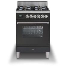 Professional Plus 24 Inch Gas Liquid Propane Freestanding Range in Matte Graphite with Chrome Trim