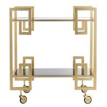 See Details - Eliza 2 Tier Bar Cart - Brass / Black Glass