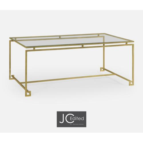 Gilded Iron Rectangular Coffee Table with Clear Glass Top