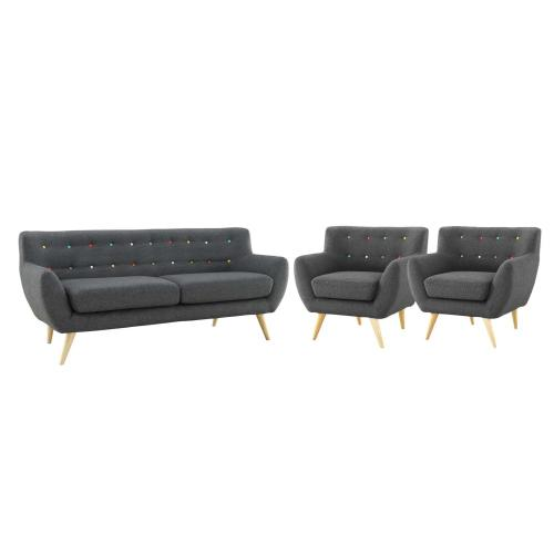 Remark 3 Piece Living Room Set in Gray