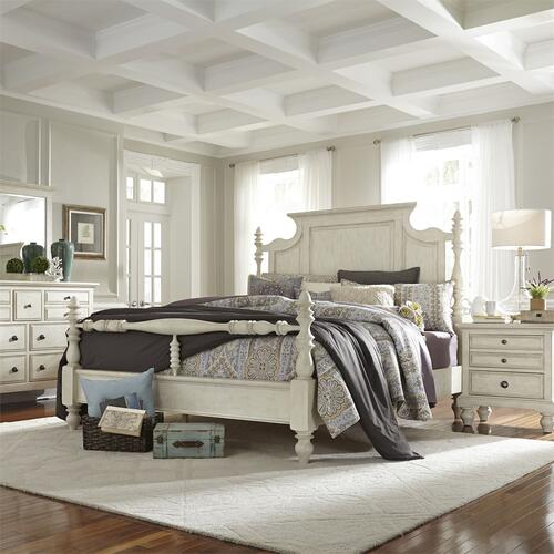 King Poster Bed, Dresser & Mirror, Night Stand