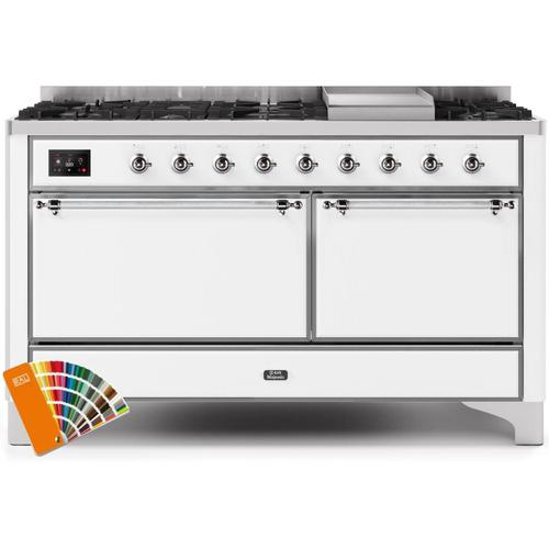 Ilve - Majestic II 60 Inch Dual Fuel Natural Gas Freestanding Range in Custom RAL Color with Chrome Trim