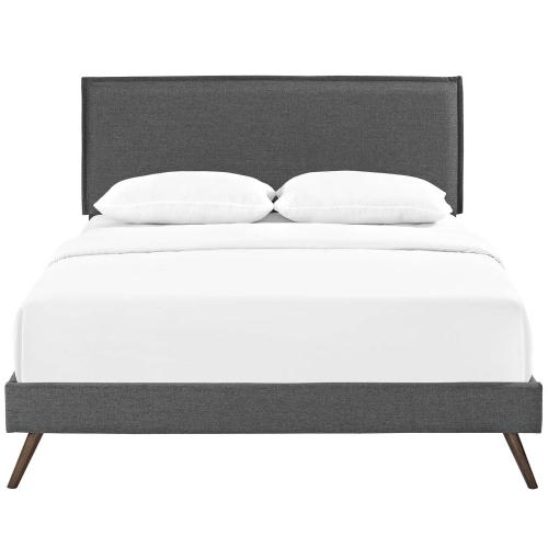 Modway - Amaris Queen Fabric Platform Bed with Round Splayed Legs in Gray