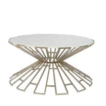 Metal & Marble Art Deco Cocktail Table, Silver