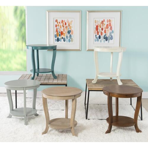 1-shelf and Round Top Accent Side Table, Teal Blue