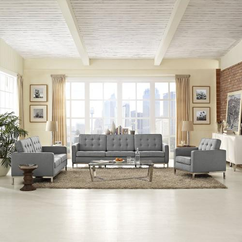 Loft 3 Piece Upholstered Fabric Sofa Loveseat and Armchair Set in Light Gray