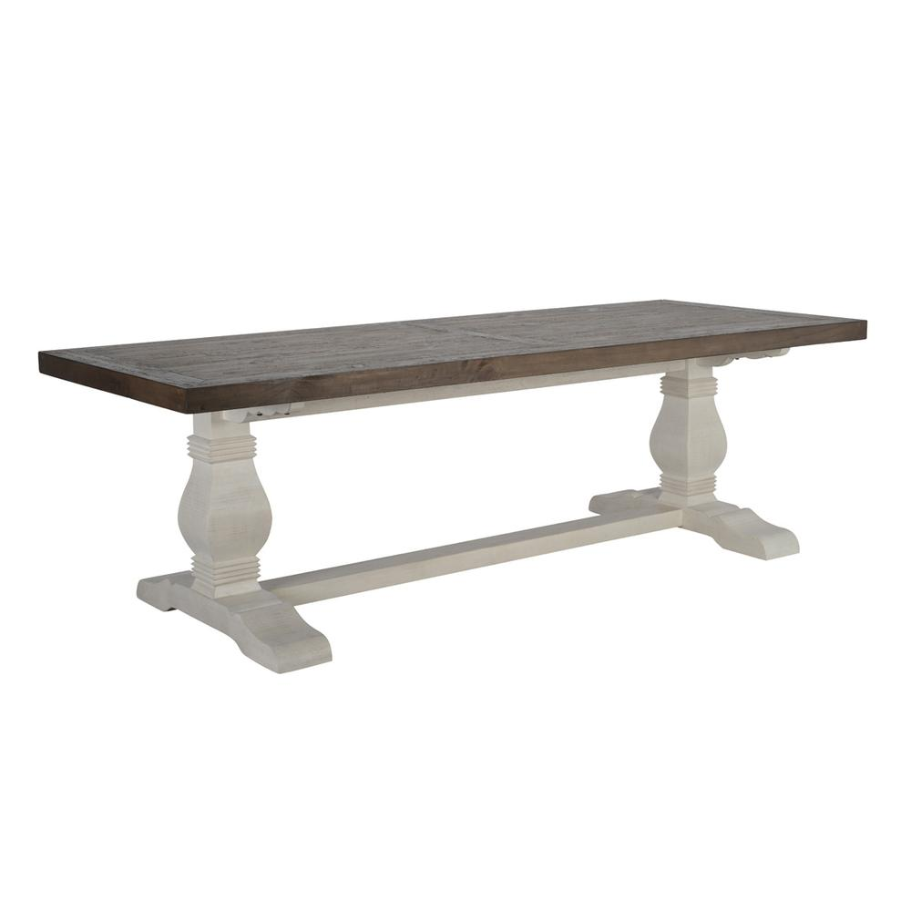 See Details - Caleb 94\u0022 Dining Table Lark Brown/Classic Ivory