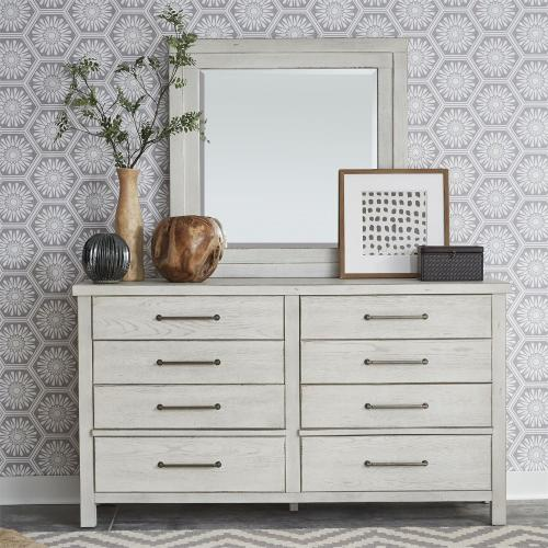 Queen Platform Bed, Dresser & Mirror, Night Stand