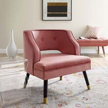 Traipse Button Tufted Open Back Performance Velvet Armchair in Dusty Rose