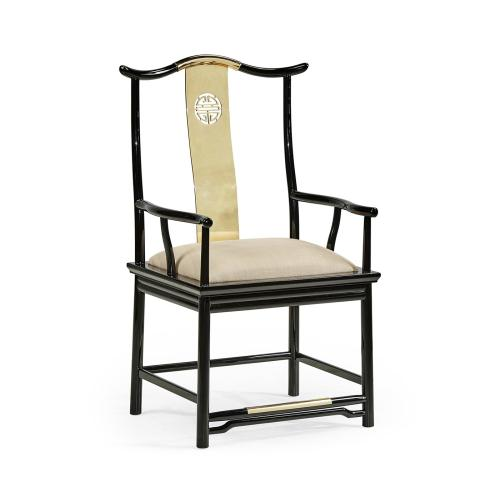 Asian Fusion Black Gloss & Brass Dining Arm Chair, Upholstered in MAZO