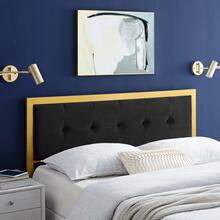 Teagan Tufted Twin Performance Velvet Headboard in Gold Black