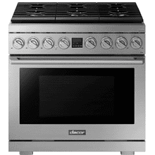 "Transitional 36"" Gas Range, Silver Stainless Steel, Natural Gas/Liquid Propane"