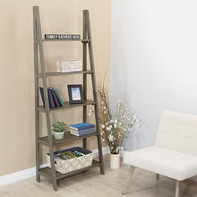 Hillsboro Ladder Bookcase In Grey Washed Finish