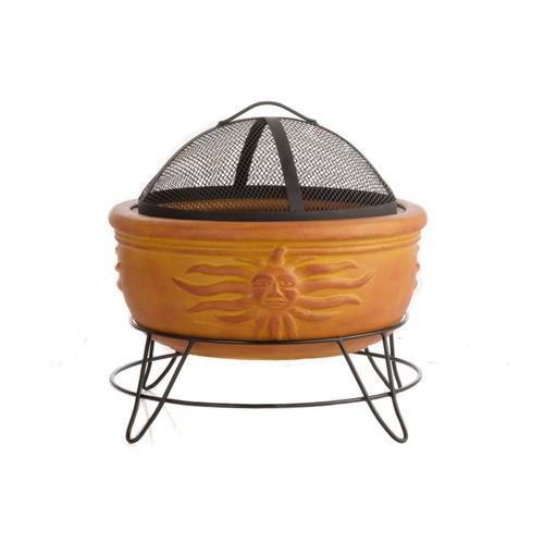 Earthenware Sunface Fire Pit w/ stand and screen Copper Dust Orange