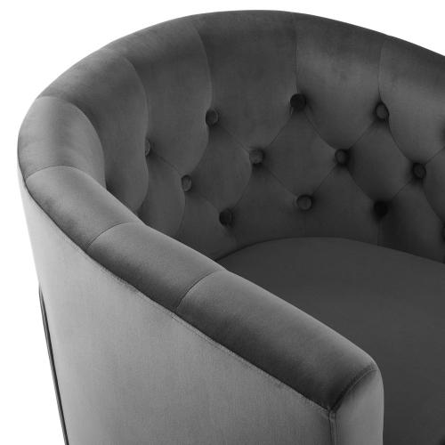 Prospect Tufted Performance Velvet Swivel Armchair in Charcoal