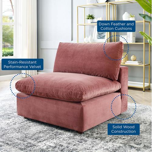 Commix Down Filled Overstuffed Performance Velvet Armless Chair in Dusty Rose