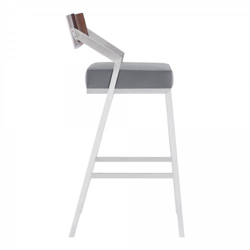 """Dakota Mid-Century 26"""" Counter Height Barstool in Brushed Stainless Steel with Grey Faux Leather and Walnut Wood Finish Back"""