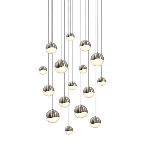 Sonneman - A Way of Light - Grapes® LED Pendant [Size=16-Light Assorted, Color/Finish=Satin Nickel, Shape=Square Canopy]