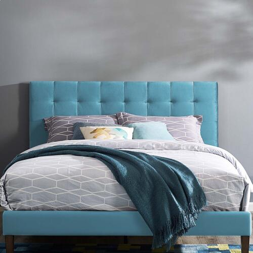 Paisley Tufted King and California King Upholstered Performance Velvet Headboard in Sea Blue