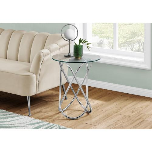 """ACCENT TABLE - 24""""H / CHROME METAL WITH TEMPERED GLASS"""