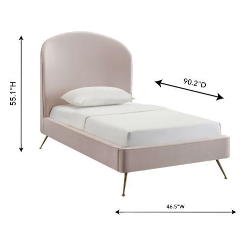 Vivi Blush Velvet Bed in Twin