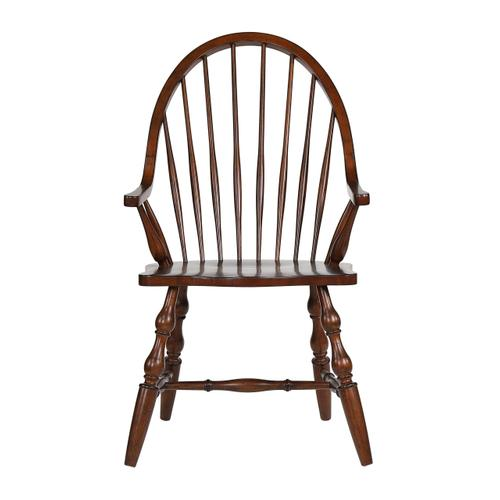 Windsor Dining Chair w/Arms - Distressed Chestnut Brown Seat