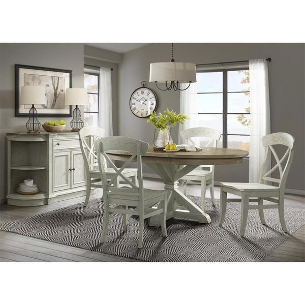 See Details - Southport - Sideboard - Smokey White/antique Oak Finish