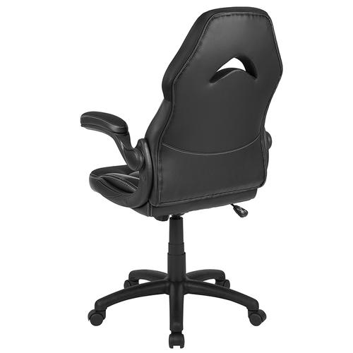 Gallery - X10 Gaming Chair Racing Office Ergonomic Computer PC Adjustable Swivel Chair with Flip-up Arms, Black LeatherSoft