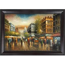Street View Framed Hand Painted Art, Oil on Canvas