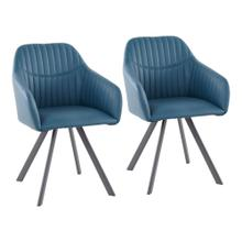 Clubhouse Pleated Chair - Set Of 2 - Black Metal, Teal Pu