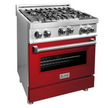 """See Details - ZLINE 30"""" 4.0 cu. ft. Range with Gas Stove and Gas Oven in Stainless Steel (RG30) [Color: Red Gloss]"""