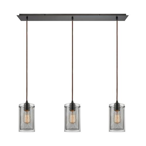 Brant 3-Light Linear Mini Pendant Fixture in Oiled Bronze with Clear Glass and Metal Fishnet Shade