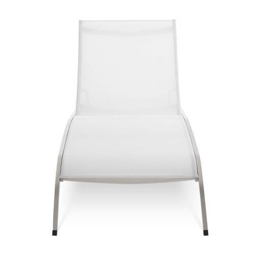 Savannah Mesh Chaise Outdoor Patio Aluminum Lounge Chair in White