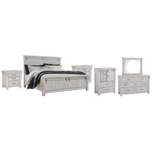 Ashley - California King Panel Bed With Mirrored Dresser, Chest and 2 Nightstands